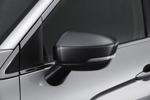 The side mirror of a Mitsubishi Eclipse Cross