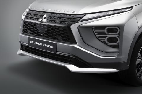 The silver front bumper of a Mitsubishi Eclipse Cross