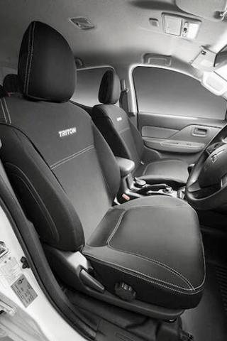 A photo of the custom neoprene seat covers available for the Triton