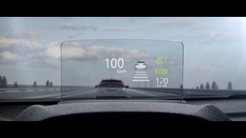 The heads up display while the Mitsubishi Eclipse Cross is driving on motorway