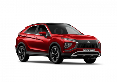 A red Mitsubishi Eclipse Cross VRX on a white background